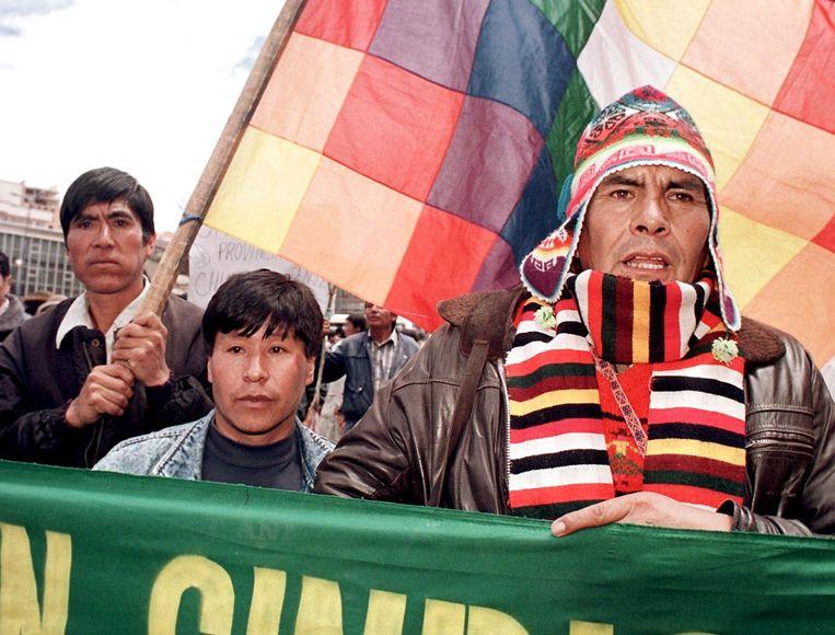 Felipe Quispe Huanca bij protesten tegen de regering in La Paz, 1999.  Beeld AFP