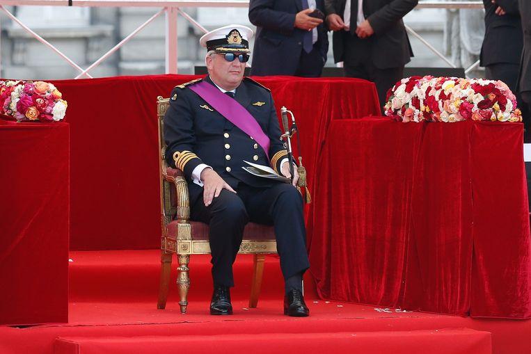 Prins Laurent tijdens de militaire parade van 21 juli 2016.  Beeld EPA
