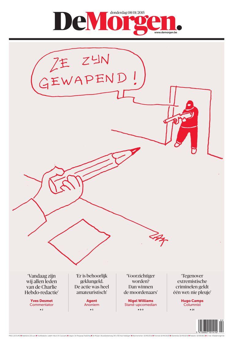Op 8 januari 2015, de dag nadat terroristen journalisten van het satirische weekblad Charlie Hebdo doodschoten, plaatste De Morgen een cartoon op zijn voorpagina. Beeld dm
