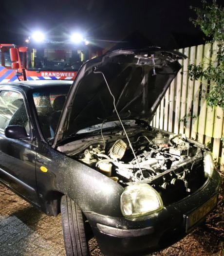 Auto vliegt in brand bij garagebedrijf in Geldermalsen