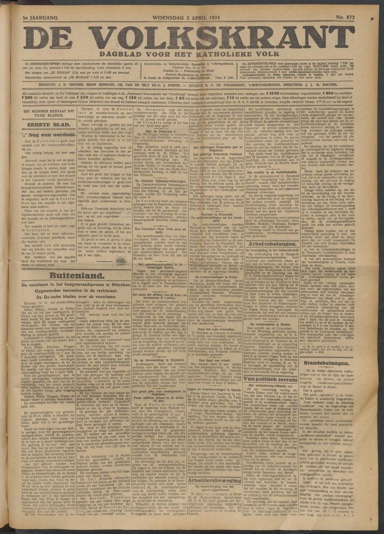 De Volkskrant van 2 april 1924 Beeld de Volkskrant