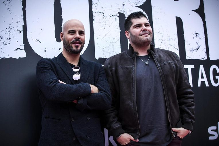 Marco Damore en Salvatore Esposito, twee acteurs uit Gomorra. Beeld epa