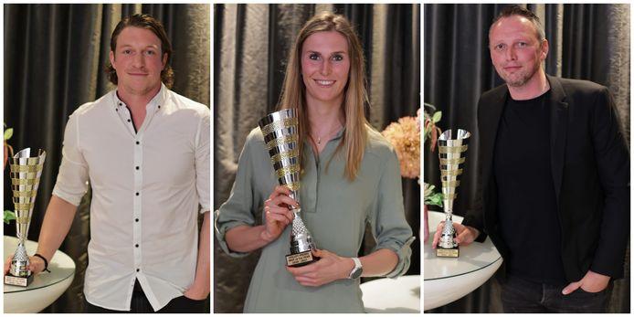 Volleypromslaureaten Seppe Baetens (MVP bij de mannen), Sarah Cools (MVP bij de vrouwen) en Frank Depestele (coach van het jaar bij de mannen).