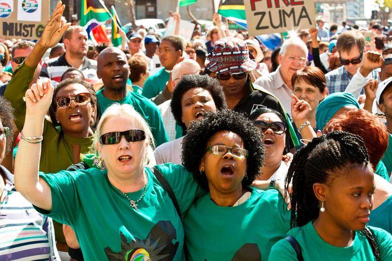 Recent protest tegen de Zuid-Afrikaanse president Zuma. Beeld afp