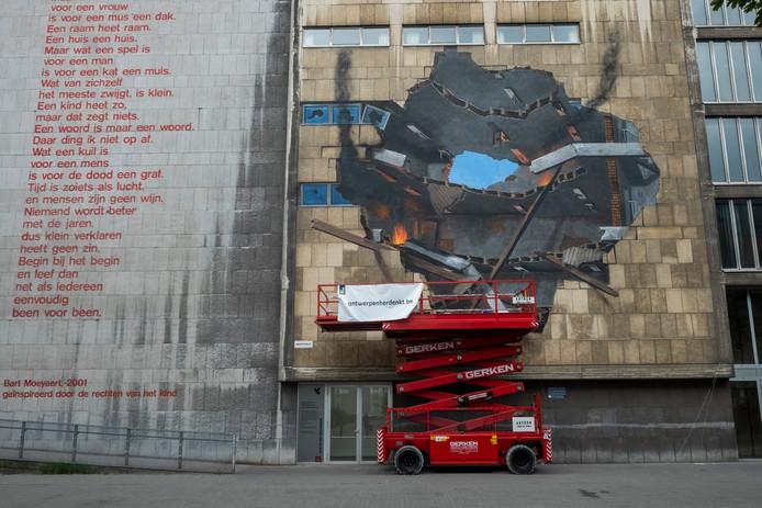 15072019 Antwerpen graffiti Graffiti kunstwerk in de meistraat is klaar