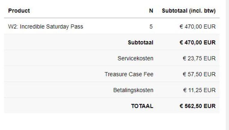 Voorbeeld: deze festivalganger kocht vijf tickets voor de zaterdageditie van het dancefestival. Beeld RV