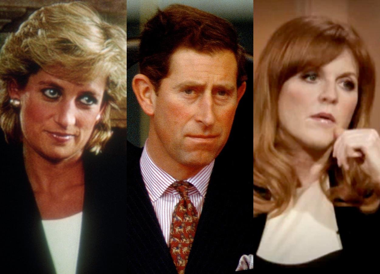 Van links naar rechts: prinses Diana, prins Charles en Sarah Ferguson.