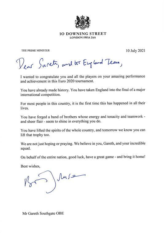 De brief van de premier.