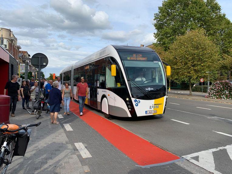 Ringtrambus kwam in Vilvoorde langs tijdens autoloze zondag 2019.