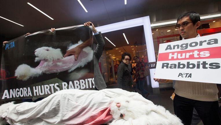 Dierenrechtenactivisten manifesteren tegen de gruwelijke behandeling. Beeld EPA