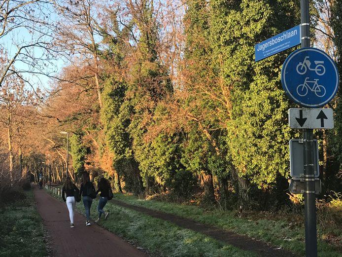 De Jagersboschlaan in Vught is nu een fietspad met een onverhard wandelpad en wordt intensief gebruikt door wandelaars en fietsers. Met name veel leerlingen van het nabij gelegen Maurick College.