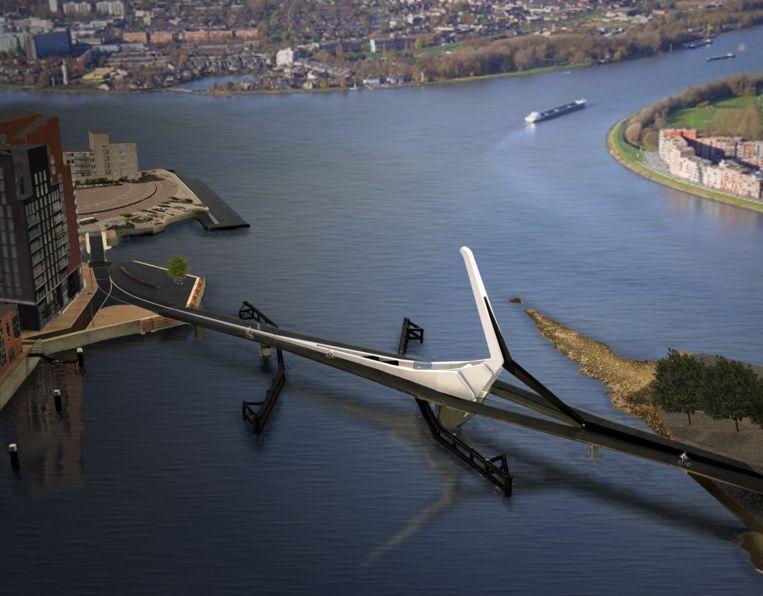 Impressie van de nieuwe Prins Clausbrug in Dordrecht. Na de zomer moet de brug toegankelijk zijn voor fietsers en voetgangers. Beeld René van Zuuk Architecten