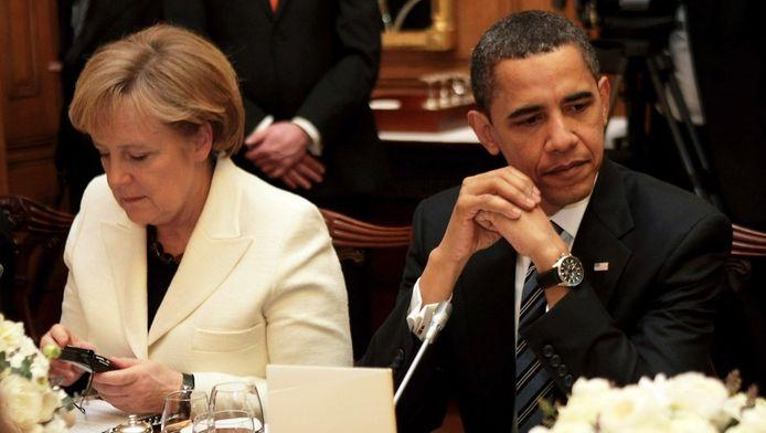 De Duitse Bondskanselier Angela Merkel en de Amerikaanse president Barack Obama.