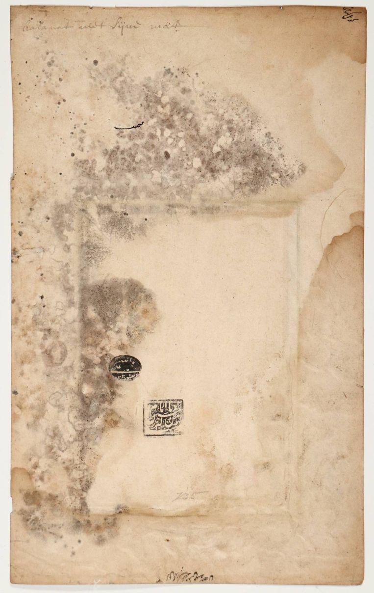 Achterzijde van de Perzische prent, met bovenaan de tekst 'kalarat en sijne mat'. Beeld Rijksmuseum