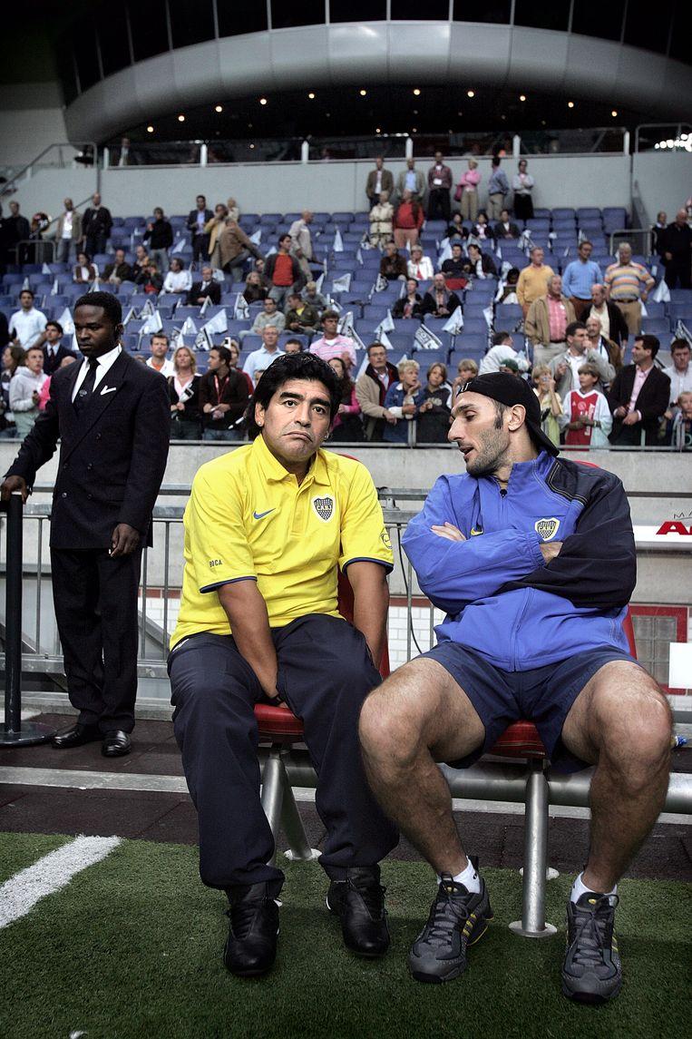 Diego Maradona in 2005 in de Amsterdam Arena. Hij zat toen in het bestuur van Boca Juniors. Beeld Guus Dubbelman / de Volkskrant