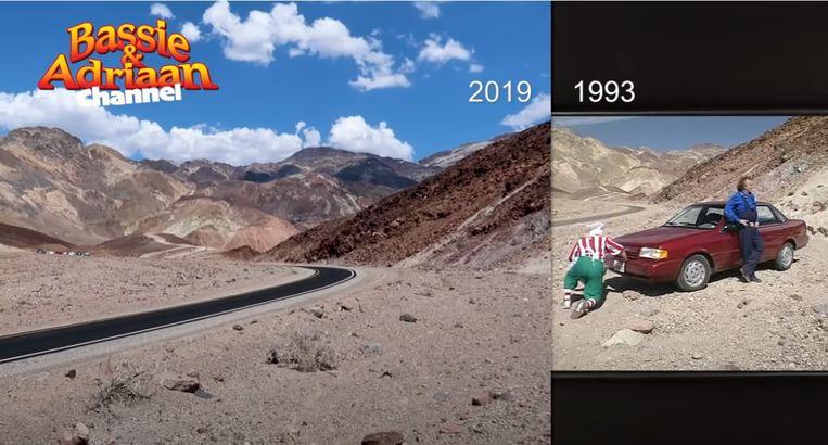 De plek in Death Valley waar Bassie een eitje bakt op de motorkap en de radiateur van de auto laat leeglopen om af te wassen. Deze locatie ligt op de weg naar het uitkijkpunt Artists Palette. Beeld YouTube