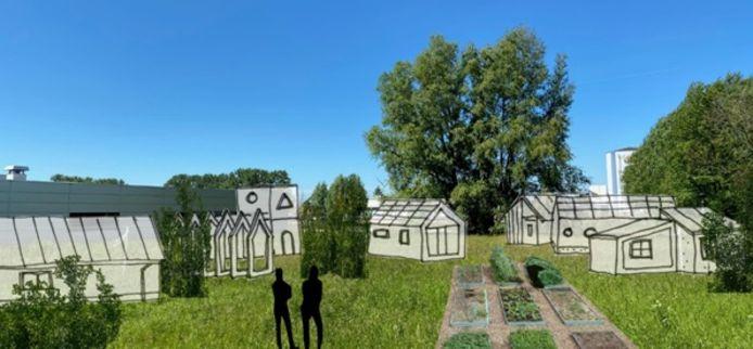 Een indruk van hoe het nieuwe wijkje met de tiny houses er uit moet komen te zien.