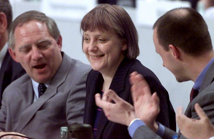 Merkel bij haar verkiezing tot partijvoorzitter in 2000.