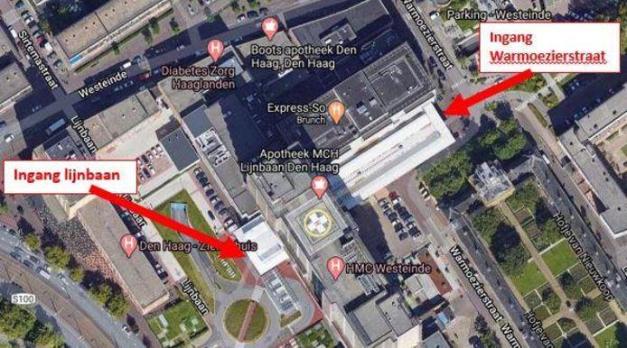 Ingang HMC Westeinde aan de kant van de Lijnbaan vanaf maandag gesloten | Den  Haag | AD.nl