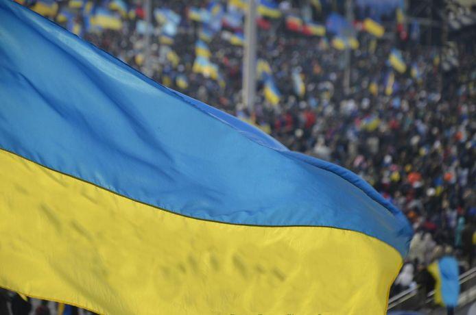 De Oekraïense vlag.