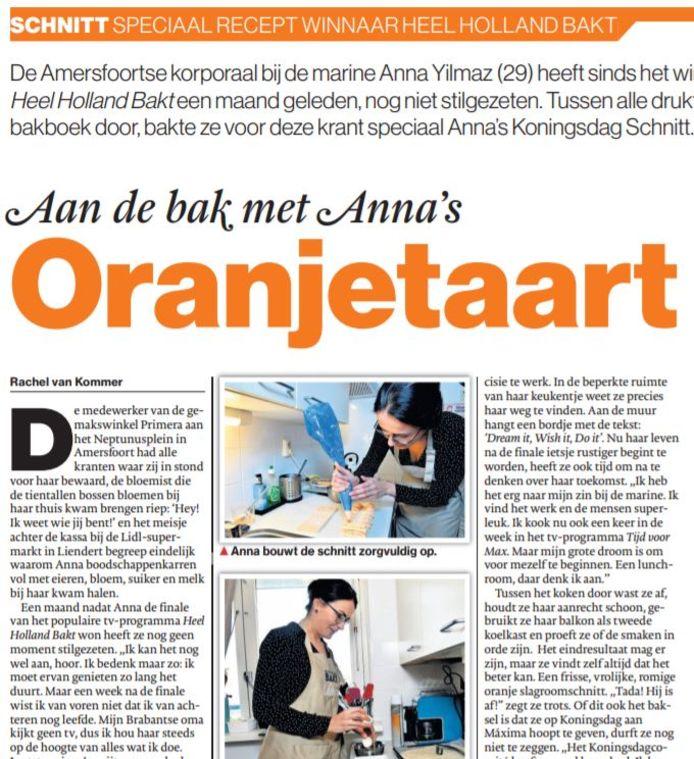 Anna Yilmaz bedacht voor Koningsdag een speciale Oranjetaart