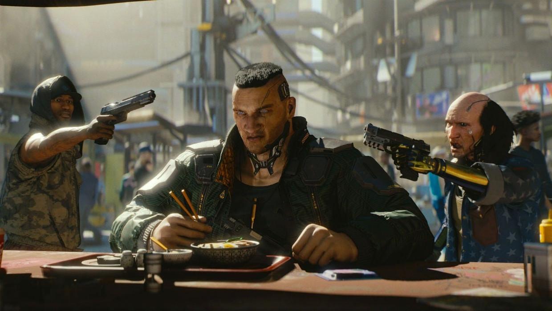 Een keer rustig eten is er zelden bij in Cyberpunk 2077, de nieuwe game van CD Project. Beeld CD Project