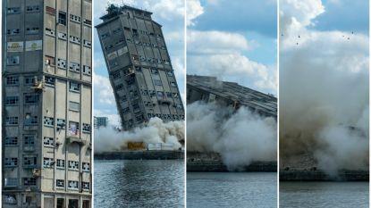 """Toren SAMGA-gebouw stort in na gecontroleerde explosie in haven van Antwerpen: """"Perfect gelukt"""""""