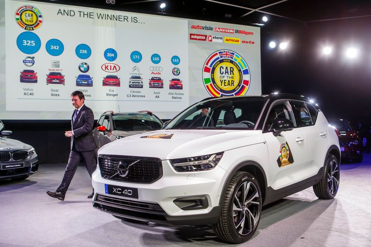 De Volvo XC40 is op het autosalon van Genève uitgeroepen tot Europese Auto van het Jaar. Beeld EPA