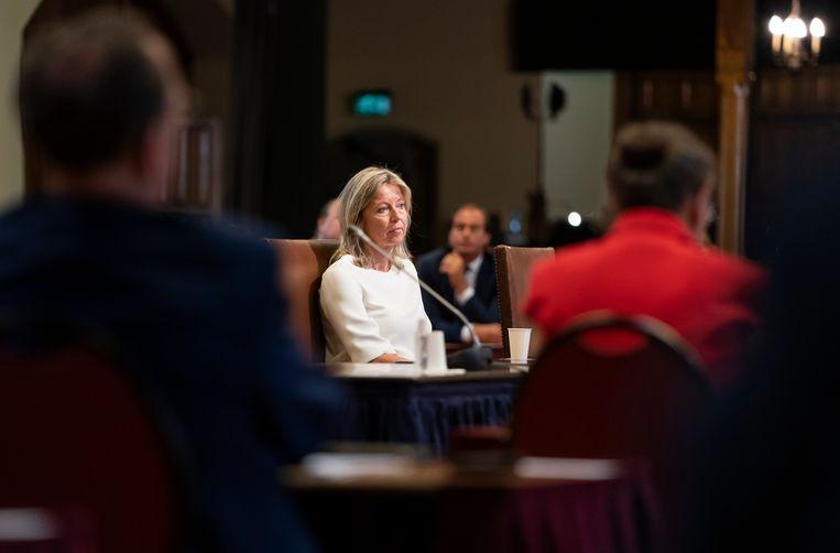 Minister Kajsa Ollongren van Binnenlandse Zaken en Koninkrijksrelaties tijdens een stemming in de Eerste Kamer. Beeld Freek van den Bergh
