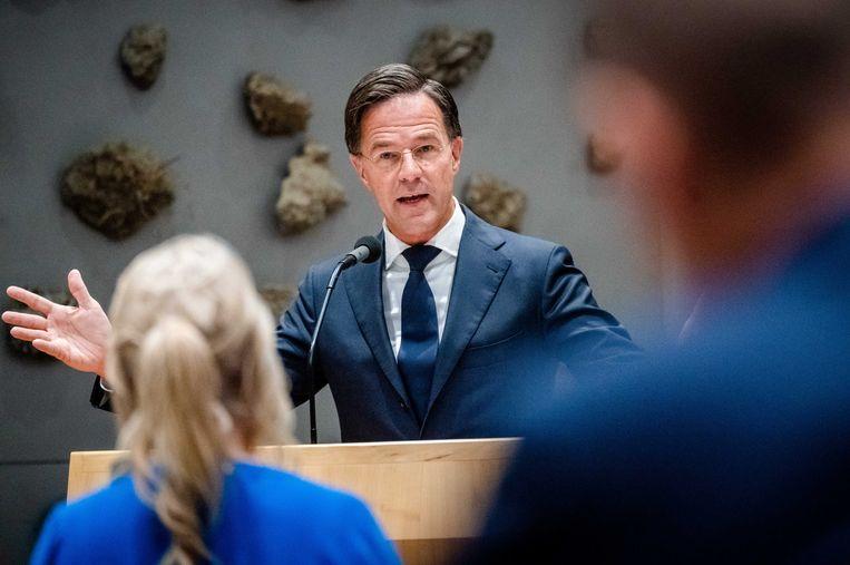 Demissionair premier Mark Rutte, Lilian Marijnissen (SP) en Gert-Jan Segers (ChristenUnie) tijdens de tweede dag van de Algemene Politieke Beschouwingen.  Beeld ANP - Bart Maat