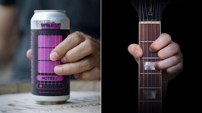 Le design des canettes de bière de cette brasserie américaine permet d'apprendre la guitare.