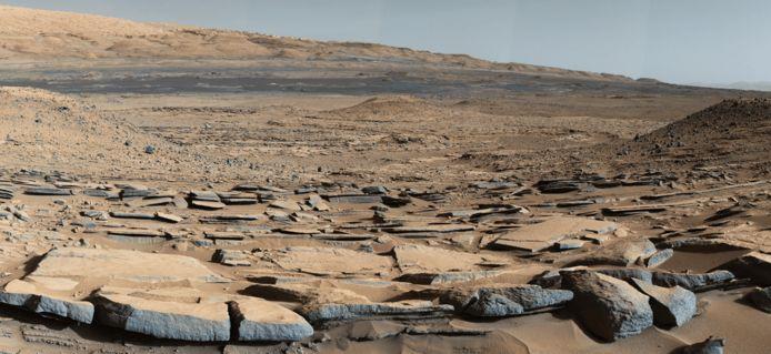 De 'Kimberley'-formatie op Mars. Een foto van Curiosity.