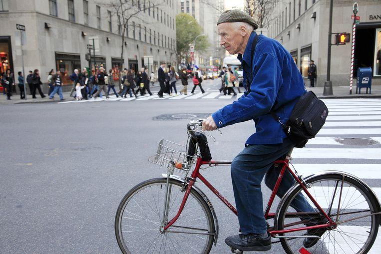 Cunningham aan het werk op straat in New York Beeld null