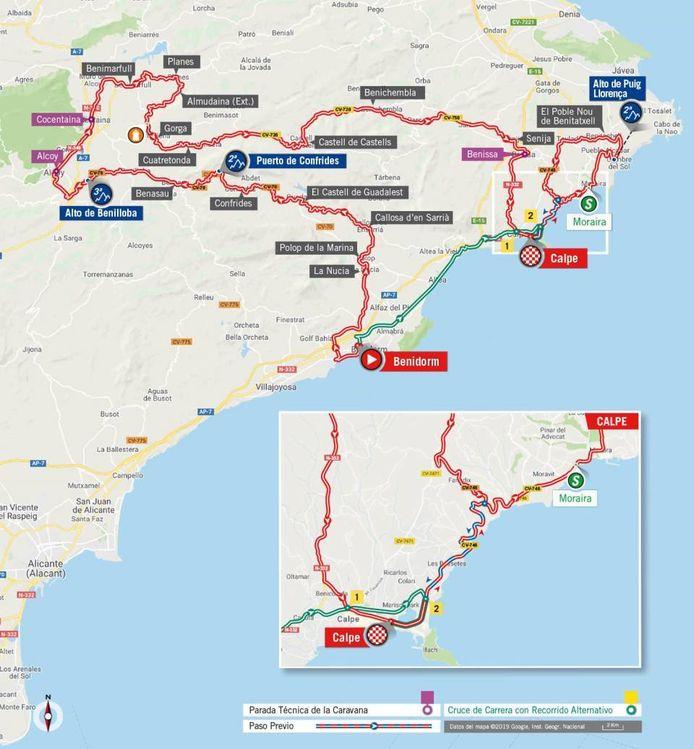 Etappe 2 gaat van Benidorm naar Calpe.