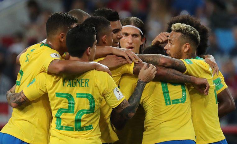 Neymar is de ster, maar de sterkte is het Braziliaanse blok. Beeld EPA
