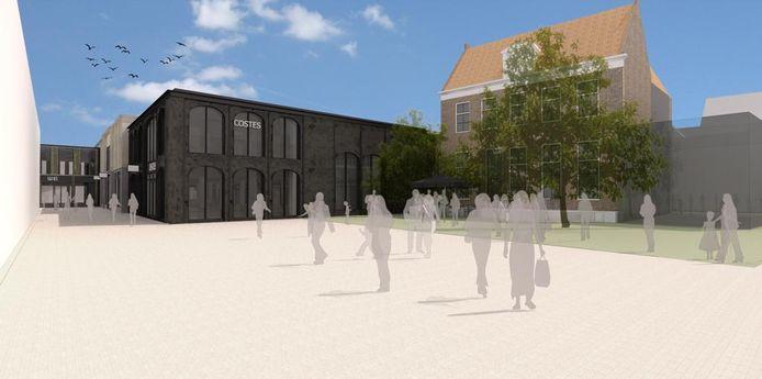 De Weeshuispassage in Zwolle krijgt een flinke make-over. De plannen van de architect zijn ondertussen iets bijgesteld, maar de gemeentelijke welstandcommissie valt nog altijd over het nogal aanwezige zwart in de Costes-winkel aan het Vliegerplein.