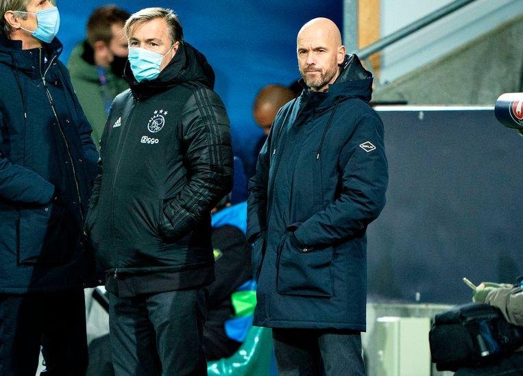 Erik Ten Hag aan de zijlijn van de wedstrijd tegen Midtjylland. Beeld AFP