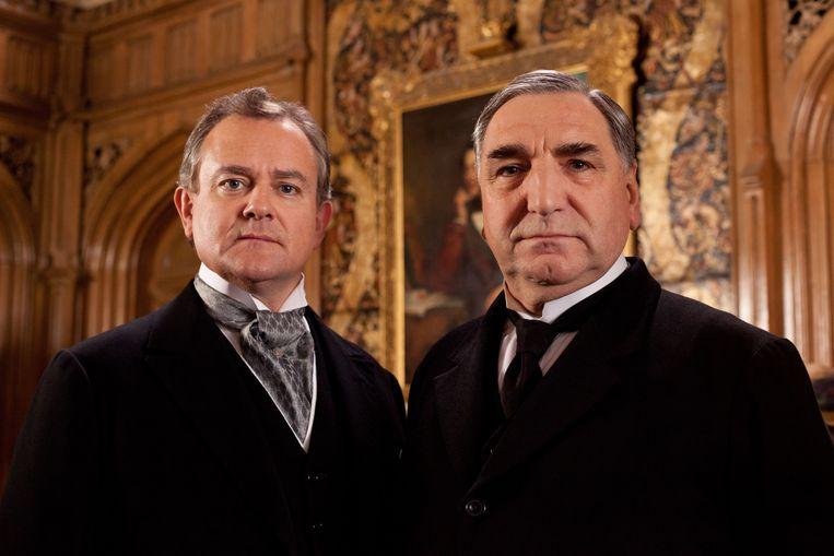 Hugh Bonneville als Lord Grantham en Jim Carter als Mr. Carson, twee van de hoofdrolspelers uit Downton Abbey. Beeld ap