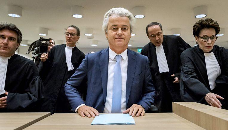 Geert Wilders was vandaag niet aanwezig in de rechtbank, tijdens het proces was hij er wel om zijn laatste woord te eisen. Beeld AFP