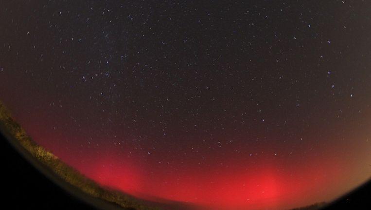 Het noorderlicht gisteravond vastgelegd vanuit het Zeeuwse Oostkapelle. Beeld Astroproject Oostkapelle/Klaas Jobse