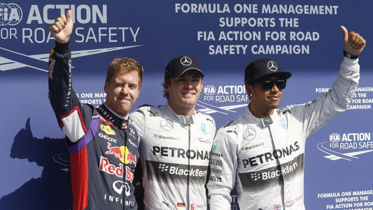 Vettel, Rosberg en Hamilton Beeld AP