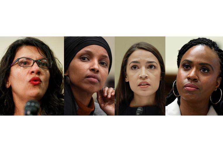 The Squad: Rashida Tlaib, Ilhan Omar, Alexandria Ocasio-Cortez en Ayanna Pressley. Beeld AP