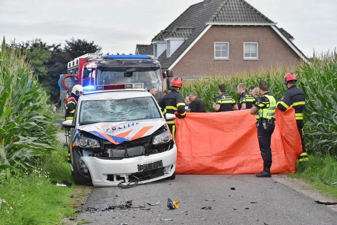 De scooterrijder verongelukte na een frontale botsing met een politiewagen.