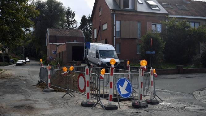 Wegverzakking op de Milsweg in Heverlee