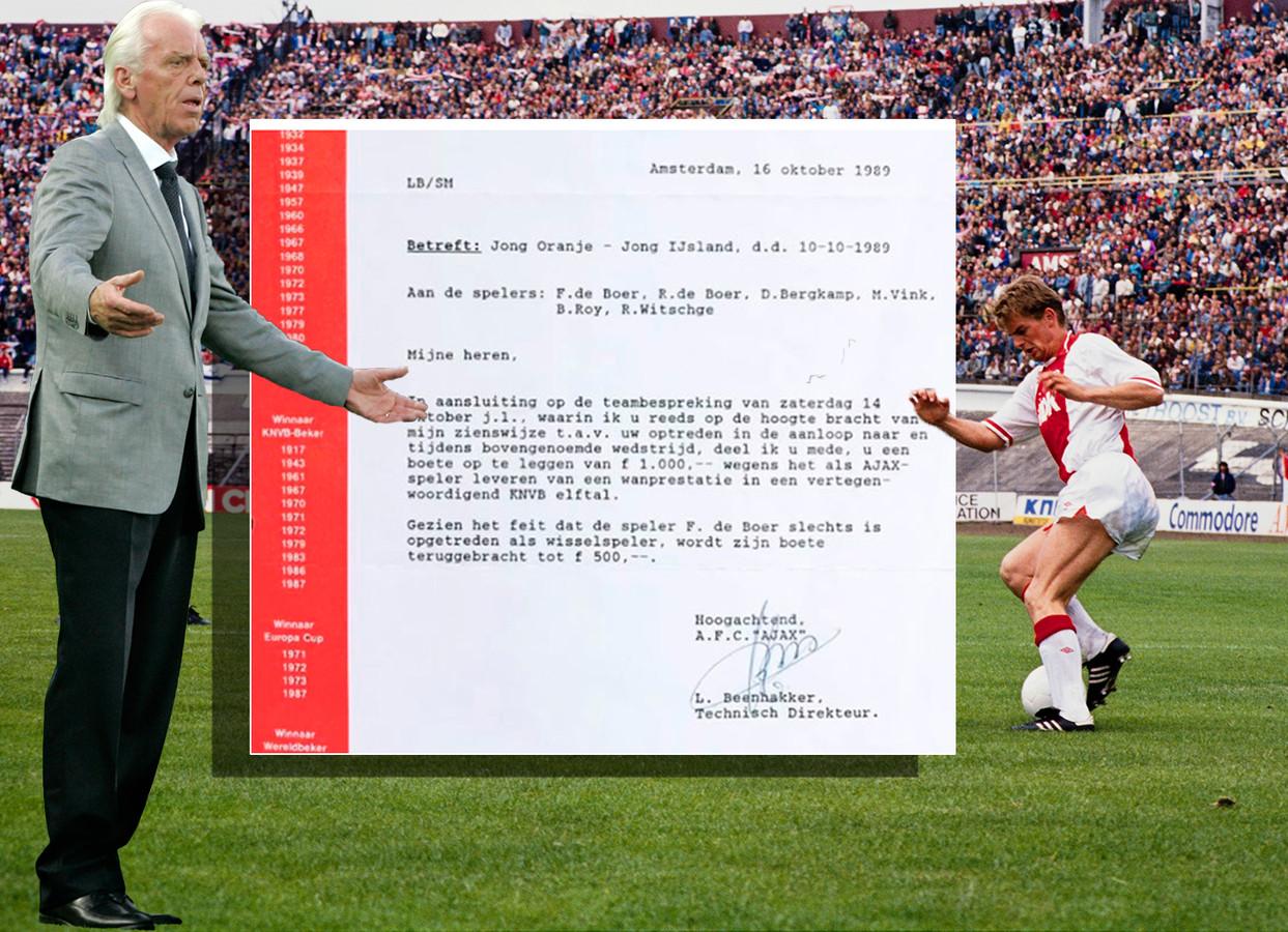 Leo Beenhakker, de brief en Ronald de Boer (rechts).