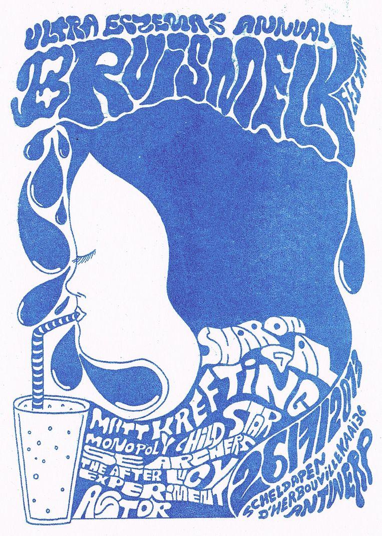 Flyer van Dennis Tyfus voor het Bruismelk Festival. Ook zoiets past op een 'wunderwall', een muur waarop vanalles kriskras door elkaar hangt, jonge en oude kunst, een foto, een platenhoes...  Beeld dennis tyfus