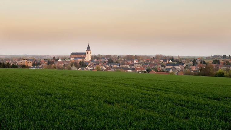 Panoramisch uitzicht over Hoegaarden Beeld belga