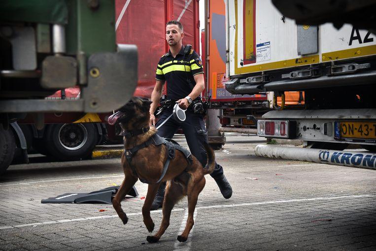 De politie in Rotterdam controleert met behulp van een speurhond containers op verboden goederen. Beeld Marcel van den Bergh