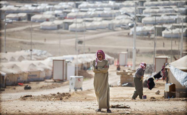 Een vluchtelingenkamp voor gevluchte Yezidi's in de Duhok provincie in Noord-Irak. Beeld anp