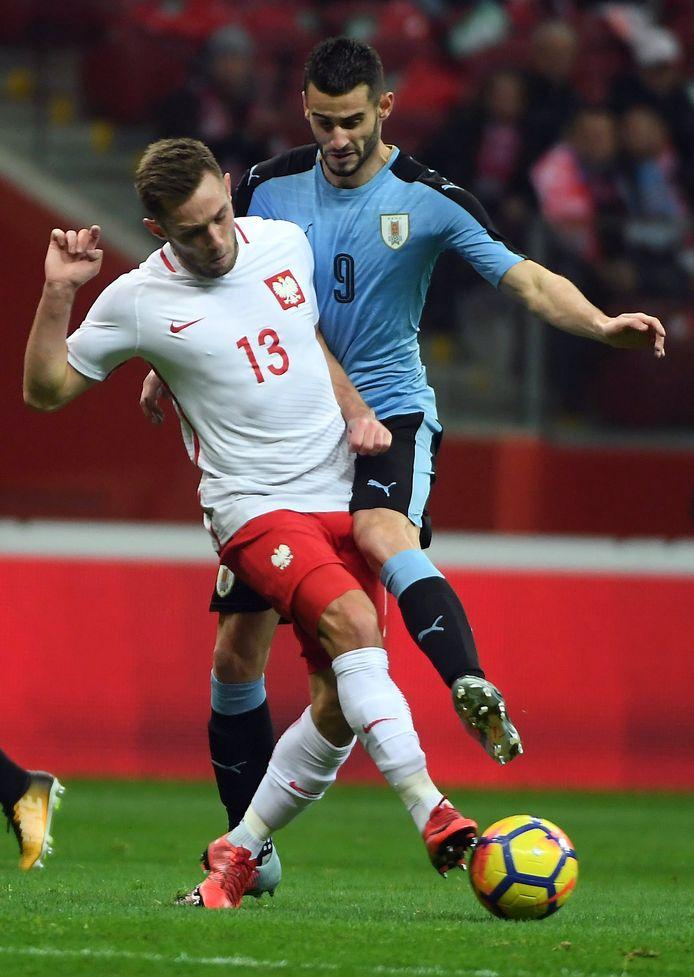 Gastón Pereiro debuteerde voor Uruguay tegen Polen met een 0-0.